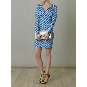 DVF Reina Blue Chain Link Tunic Dress